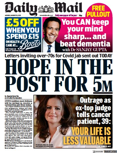 Daily Mail Newspaper Front Page (UK) for 18 January 2021