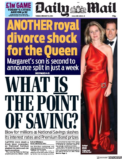 Daily Mail Newspaper Front Page (UK) for 18 February 2020