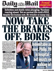 Daily Mail front page for 18 February 2021
