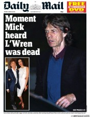 Daily Mail Newspaper Front Page (UK) for 18 March 2014