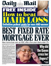 Daily Mail (UK) Newspaper Front Page for 18 April 2015