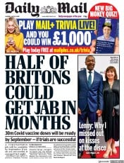 Daily Mail front page for 18 May 2020