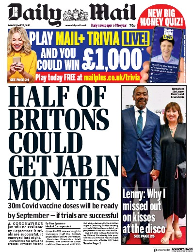 Daily Mail Newspaper Front Page (UK) for 18 May 2020