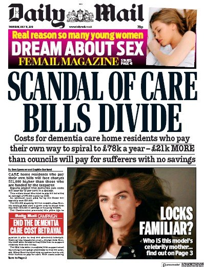 Daily Mail Newspaper Front Page (UK) for 18 July 2019