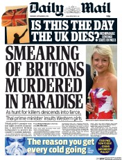 Daily Mail (UK) Newspaper Front Page for 18 September 2014