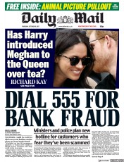 Daily Mail (UK) Newspaper Front Page for 19 October 2017