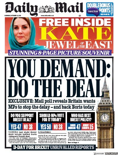 Daily Mail Newspaper Front Page (UK) for 19 October 2019