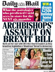 Daily Mail front page for 19 October 2020