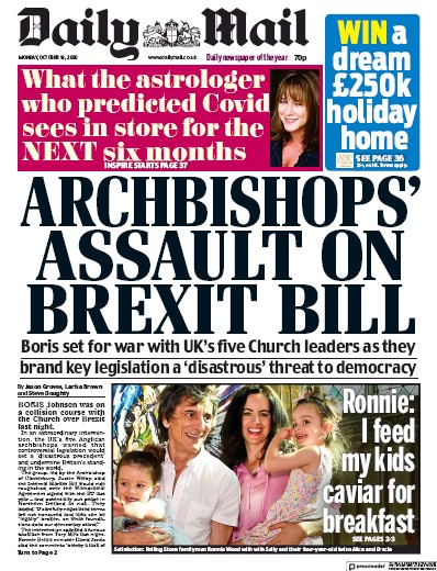 Daily Mail Newspaper Front Page (UK) for 19 October 2020
