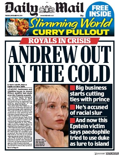 Daily Mail Newspaper Front Page (UK) for 19 November 2019