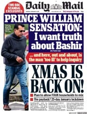 Daily Mail front page for 19 November 2020