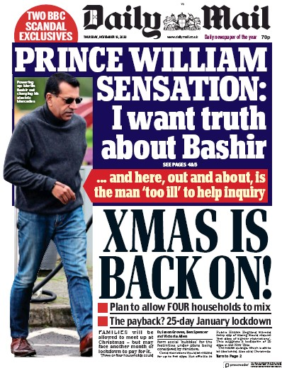 Daily Mail Newspaper Front Page (UK) for 19 November 2020