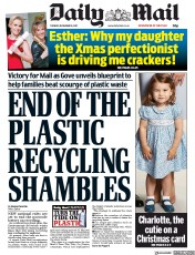 Daily Mail (UK) Newspaper Front Page for 19 December 2017