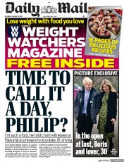 Daily Mail (UK) Newspaper Front Page for 19 January 2019