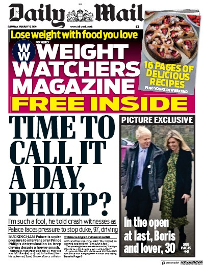 Daily Mail Newspaper Front Page (UK) for 19 January 2019