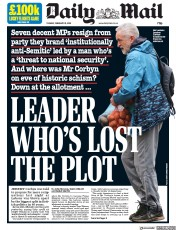 Daily Mail () Newspaper Front Page for 19 February 2019