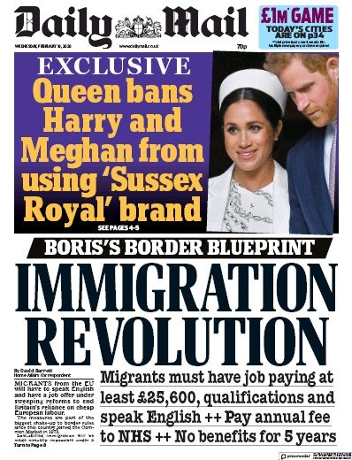 Daily Mail Newspaper Front Page (UK) for 19 February 2020