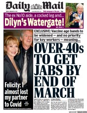 Daily Mail front page for 19 February 2021