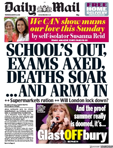 Daily Mail Newspaper Front Page (UK) for 19 March 2020