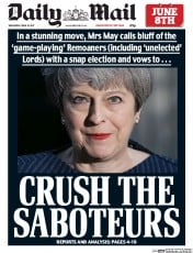 Daily Mail (UK) Newspaper Front Page for 19 April 2017