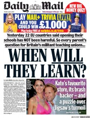 Daily Mail front page for 19 May 2020