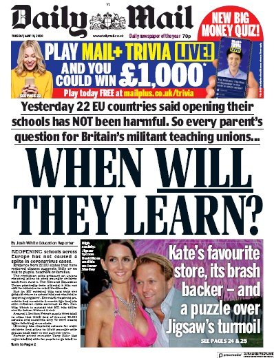 Daily Mail Newspaper Front Page (UK) for 19 May 2020
