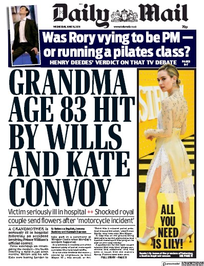 Daily Mail Newspaper Front Page (UK) for 19 June 2019