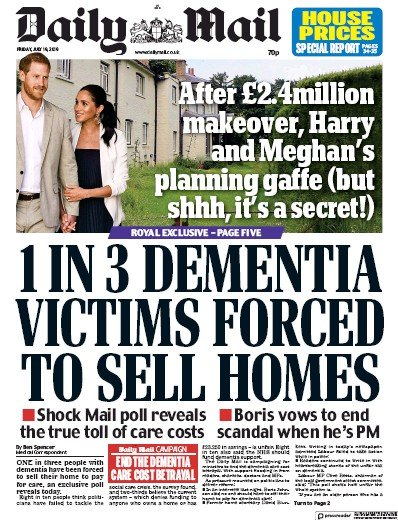 Daily Mail Newspaper Front Page (UK) for 19 July 2019