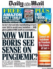 Daily Mail () Newspaper Front Page for 19 July 2021