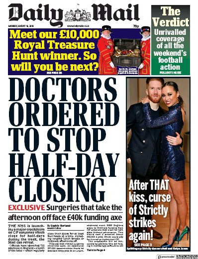 Daily Mail Newspaper Front Page (UK) for 19 August 2019
