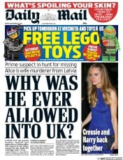 Daily Mail (UK) Newspaper Front Page for 19 September 2014
