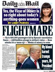Daily Mail (UK) Newspaper Front Page for 19 September 2017