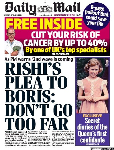 Daily Mail Newspaper Front Page (UK) for 19 September 2020