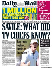 Daily Mail Newspaper Front Page (UK) for 1 October 2012