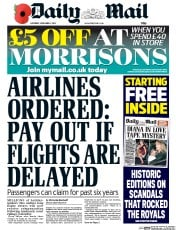 Daily Mail (UK) Newspaper Front Page for 1 November 2014