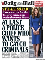 Daily Mail () Newspaper Front Page for 1 November 2018