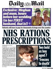 Daily Mail (UK) Newspaper Front Page for 1 December 2017