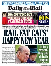 Daily Mail (UK) Newspaper Front Page for 1 January 2018