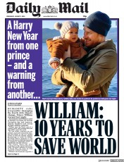 Daily Mail (UK) Newspaper Front Page for 1 January 2020