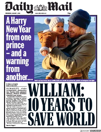 Daily Mail Newspaper Front Page (UK) for 1 January 2020