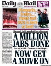 Daily Mail front page for 1 January 2021