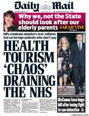 Daily Mail (UK) Newspaper Front Page for 1 February 2017