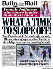Daily Mail () Newspaper Front Page for 1 February 2019