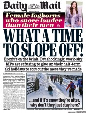 Daily Mail (UK) Newspaper Front Page for 1 February 2019