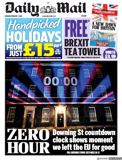 Daily Mail Newspaper Front Page (UK) for 1 February 2020