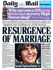 Daily Mail (UK) Newspaper Front Page for 1 March 2012