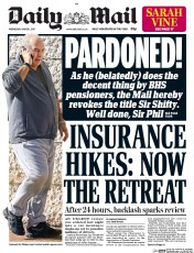Daily Mail (UK) Newspaper Front Page for 1 March 2017