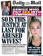 Daily Mail () Newspaper Front Page for 1 March 2019