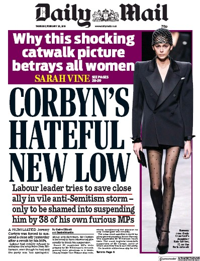 Daily Mail Newspaper Front Page (UK) for 1 March 2019