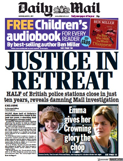 Daily Mail Newspaper Front Page (UK) for 1 March 2021